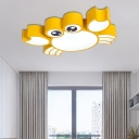 Cartoon Crab Flush Lighting Kindergarten Led Ceiling Light with Metal Shade and Frosted Diffuser