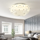Drum Living Room Flush Mount Ceiling Fixture Contemporary Glass Ceiling Light Fixture in White