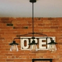 Urn Shade Restaurant Island Light Metal and Clear Glass American Rustic Pendant Lamp in Black