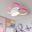 Pink Butterfly Flush Lighting Kids Modern Metal Ceiling Flush Mount with Acrylic Diffuser