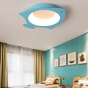 Blue Fish Ceiling Light Nautical Kids Metal Led Flush Mount Light with Frosted Diffuser