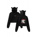 Trendy Money Heist Figure Pattern Cute Ear Design Casual Crop Hoodie