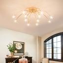 Star Bedroom Semi Flush Light Metal 12/15/21/28 Light Contemporary Flush Mount Ceiling Light in Gold
