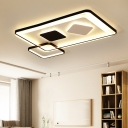 Black and White Geometric Flush Light LED Modern Metal Ceiling Light Fixture for Living Room