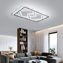 LED Rectangle Flush Lighting Metal LED Nordic Style Ceiling Light Fixture in Black and White