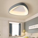 Gray Triangle Ceiling Mount Light Fixture Nordic Style LED Metal Ceiling Flush for Bedroom