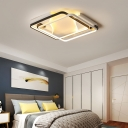 Modern Double Tier Square/Rectangle Ceiling Light Metal Indoor Flush Mount in Black and White