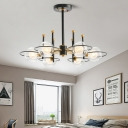 Contemporary Spherical Hanging Ceiling Light Clear Glass Bedroom Chandelier in Gold