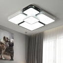 Metallic Block Flush Ceiling Light with Frosted Diffuser Simple Led Flush Light in Black and White
