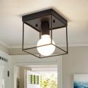 Frame Squared Lighting Fixtures Minimalist Iron 1 Light Semi Flush Ceiling Lights for Gallery