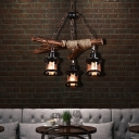 Branch Hanging Ceiling Lights Village Wood and Metal Rope Pendant Light Fixtures in Black for Coffee Shop