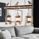 3-Light Island Pendant Lights Metal Caged Ceiling Light Fixtures with Bird Decoration over Kitchen Island