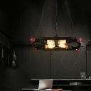 Red Valve Chandelier Light Fixture Steampunk Metal 4 Lights Mixed Pendant Chandelier with Pipe for Kitchen Dining