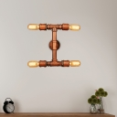Steampunk Bare Bulb Wall Light Sconce Steel 4 Lights Wall Mounted Light Fixture with Pipe