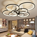Circular Semi Flush Light Modern Acrylic Led Semi Flush Mount Ceiling Light in Black