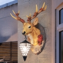 Handmade Deer Wall Sconce Light Resin 1 Light Rustic Painted Wall Light with Crystal Lampshade