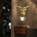 1-Light Deer Wall Light Fixture with Clear Crystal Lampshade Art Deco Sconce Lighting in Black Finish