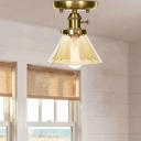 Antique Brass Semi Flush Mount Aged Metal 1 Head Semi-Flush with Glass Shade for Bedroom