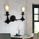 Black 1/2 Light Wall Mounted Light Retro Iron Open Bulb Wall Sconce Lighting for Indoor