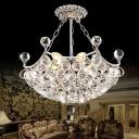 Crystal Ball Pendant Light Fixtures Modern Metal 6 Light Pendant Chandelier in Chrome for Dining Room