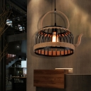 Rope Wrapped Jug Hanging Light Fixture Country Iron 1 Head Hanging Ceiling Light for Restaurant