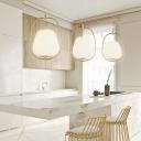 Modernism Tapered Ceiling Pendant Light White Ribbed Glass 1 Light Hanging Lamp in Gold