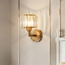 1 Light Crystal Shade Wall Lighting Modern Metal Cylinder Sconce Light Fixture in Brass for Bedroom