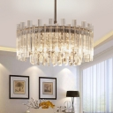 Unique Crystal Fringe Hanging Lights Contemporary 5 Light Round Pendant Chandelier for Living Room