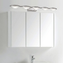 Warm/White Wave Wall Lights Modern Stainless Steel 3/4/5 Lights Sconce Wall Lighting in Chrome Finish for Vanity