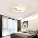 Halo Ring Flush Ceiling Light with Wavy Canopy Minimalist Acrylic Led Flush Mount Light