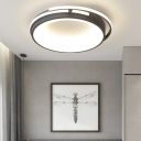 Nordic Drum Flush Lighting with Frosted Diffuser Metal Led Ceiling Flush Light for Bedroom