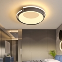 Integrated Led Drum Flushmount Light Nordic Metal Bedroom Ceiling Lamp with Diffuser