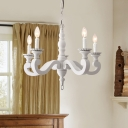 Solid Wood Pendant Light with Candle Shabby Chic 5 Lights White Chandelier Lamp
