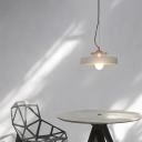 Cement Round Hanging Pendant Light 1 Light Industrial Modern Hanging Lamp in White Finish