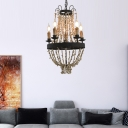 5 Lights Candle Chandelier Lighting Country Style Metal and Stone Pendant Light in Rust