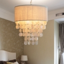 White Fabric Shade Drum Chandelier Lighting French Style 3 Lights Indoor Hanging Light for Bedroom