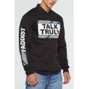Men's Fashionable Cool Letter TALK TRULY Print Round Neck Long Sleeve Pullover Sweatshirt