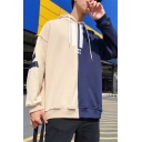 Men's New Arrival Letter NEBA Back Print Colorblock Apricot Relaxed Pullover Drawstring Hoodie