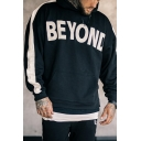 Men's Unique Letter BEYOND Print Long Sleeve Casual Sport Hoodie With Pocket
