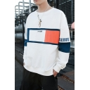 Guys Popular Colorblock Letter Printed Long Sleeve Round Neck Casual Sports Pullover Sweatshirt