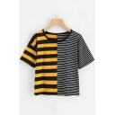 Fashionable Striped Pattern Round Neck Short Sleeves Summer T-shirt