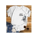 Funny Cartoon Cat Letter NOT TODAY Printed Round Neck Short Sleeve White Tee