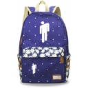 New Trendy Floral Puppet Printed Students Canvas School Backpack 30*14.5*42cm