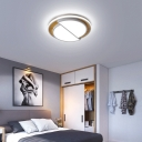 Wood Semicircle Ceiling Flush Lights LED Modern Simple Flushmount Light Fixture in Black/White