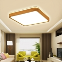 Wooden Square Flush Mount Light Modern Wood Ceiling Light Fixture For Living Room