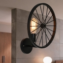 Black Bare Bulb Wall Sconces Industrial Iron 1 Head Wall Light Fixtures with Wheel Decoration
