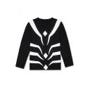Guys New Stylish Comic Cosplay Costume Stripe Printed Round Neck Long Sleeve T-Shirt