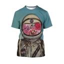 Summer Guys New Trendy Astronaut 3D Printed Basic Round Neck Short Sleeve T-Shirt