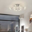 Chrome Finish Star Semi Flush Light 12/15/21/28 Light Modern Metal Ceiling Light for Bedroom