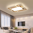 Wooden Rectangular Ceiling Light Fixture for Living Room LED Modern Acrylic Flush Light in Black/White